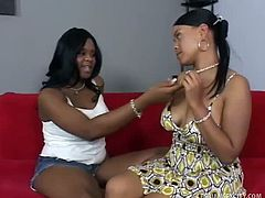 Brown Sugar was mad that Olivia didn't want to have some fun. She spreads her legs wide and starts playing with her pussy to make her scream like never before.