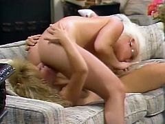 Two sex appeal classic lesbians go wild on the couch.They finger fuck each others slits and munch pussy labia in 69 position. Be pleased with new lesbians retro video.