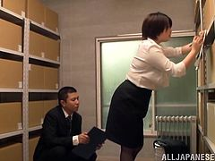 Get a load of this hardcore scene where the busty Asian babe Sakura Kawaguc is fucked silly by this guy after she sucks on his hard cock.