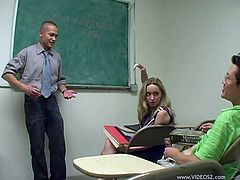 The gorgeous college girl Aiden Starr gets a little too horny in class and ends up giving her teacher an amazingly sexy blowjob.