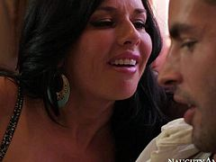 Veronica Avluv is a beautiful 4 year old woman with amazing big tits. Her husband is out of town and she does her best to seduce her husbands assistant. Lingerie-clad milf with bra busting boobs turns him on!