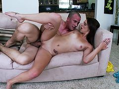 Brunette babe Kiera Winters admires a man with her blowjob skills. After that they fuck in the cowgirl position and Kiera gets her face covered with cum.