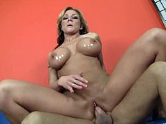 Watch the beautiful Nikki Sexx playing with her pink pussy in this hardcore scene before she rides this guy's thick cock.