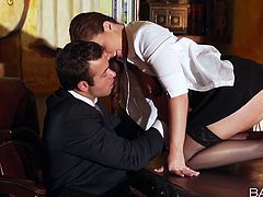 Sensual brunette babe Maddy Oreailly seduces her boss and gives him blowjob