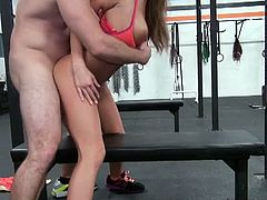 Pervs on Patrol brings you a hell of a free porn video where you can see how the vicious brunette chick August Ames gets banged at the gym while assuming very hot poses.