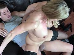 If your stepmom catches you starring at her huge boobs better hope she's as cool as Brandi Love. Cock crazed cougar loves to fuck. She climbs on top of this guy and fucks him silly in this position. The way her big tits shake guarantee his dick won't go limp.