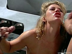 Make sure you check out this vintage hardcore scene where this smoking hot blonde is drilled by two guys in a threesome that leaves her out of breath.