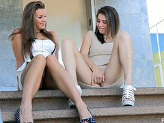 Take a look at these two gorgeous looking chicks as they make out on the porch. They enjoy fingering their pussies and tasting it afterwards.