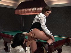 Two sizzling hot brunette lesbians start kissing and undressing each other with desire. Thereafter girls eat and finger fuck each other's clam on the billiard table.