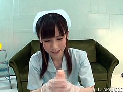 Make sure you check out this hot POV where this horny Asian nurse jerks this guy's thick cock until making him cum.
