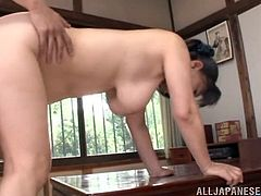 A curvaceous mature woman from Japan gets titty fucked first. Then she gets her vagina licked and fucked in a missionary pose.