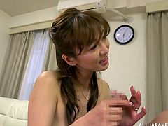 Have a good time watching this Japanese MILF, with natural boobs and a hairy pussy, while she goes hardcore and moans like a bitch.