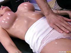 Those huge boobs sure bounce nicely while kinky milf gets busty with her tasty masseur's cock