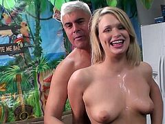 The gorgeous blonde Heather Starlet gets cum on her beautiful tits after taking a hard cock up her little pussy and blowing the dude.