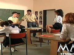 Checkout this awesome video of teen school girls having hardcore sex with three guys in the classroom. These girls are horny as hell, and they can't resist these cocks drilling their shaved, trimmed pussies. Watch these girls getting all their holes drilled with some good fashioned double penetration. Enjoy!