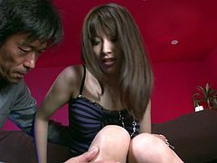 Sextractive Japanese babe allows one horny elder guy to examine her pussy. He digs his fingers upskirt and makes her pussy wet and juicy. Then he licks her snatch greedily.