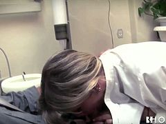 Erica Fontes is one hot dentist who knows how to cure her patients. She sucks her patient's cock passionately like a super qualified whore.