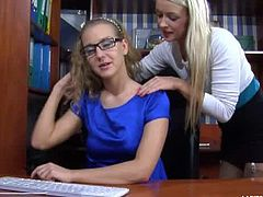 Barbara was working on the computer when Denis came in and gave her a back massage. They kissed and Denis spread her legs for Barbara to lick her pretty pussy.
