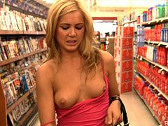 Dude, watch this incredibly sexy light-haired sweetie who has pretty face! She doesn't ashamed to demonstrate her nice boobies and juicy ass in public places.