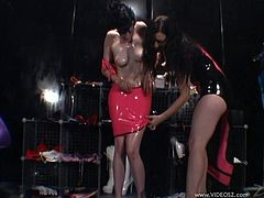 Two fuckin' sluts having a fuckin' ... sex session (?) right here where they rub oil and put on latex and shit, check it out!