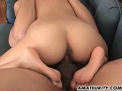 A busty amateur Asian girlfriend homemade hardcore action with blowjob and fuck ending with cum on her big boobs !