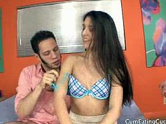 Cum Eating Cuckolds brings you a hell of a free porn video where you can see how the hot brunette Zarena Summers sucks cock in front of her man while assuming hot poses.