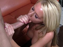 Go wild as you watch this blonde MILF, with big fake knockers wearing a miniskirt, while she uses her hands and mouth in a special way.