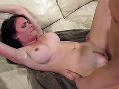 Have fun jerking off to this hardcore scene where the sexy brunette Ashli Ames sucks on a guy's hard cock before her tight pink pussy is drilled by it.