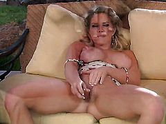 Ainsley Addison with massive hooters and clean bush enjoys great solo session