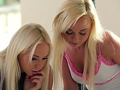 Pussy eating babes Carla Cox and Naomi Nevena. They are ready to treat you with their lesbian affairs. These gorgeous blonde babes are on to stretch their holes for you.