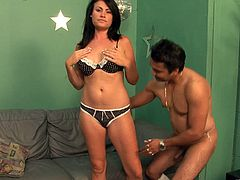 Take a look at this hardcore scene where the slutty brunette Ashli Ames ends up covered by semen after being drilled by two guys in a threesome.