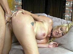Gorgeous blonde MILF Alana Evans gobbles a huge cock on the couch and gives you a good view of her little brown butthole while she rides a big cock.
