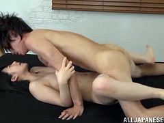 A kinky Japanese girl, wearing a bra, and her BF are having fun indoors. The man pleases the chick with cunnilingus and drills her pussy in the missionary position.