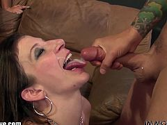 Immoral Live brings you a hell of a free porn video where you can see how three nasty sluts share a hard rod of meat while assuming some very naughty poses.