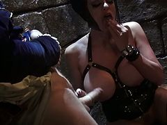 The mistress of all evil Malificent is a sex freak. Seriously, she loves nothing more than a good hard fuck. Horny dude bangs her tight twat from behind making her big boobs shake. Then he fucks her wet snatch in missionary position. She feels he's about to cum and finishes him off with a blowjob.