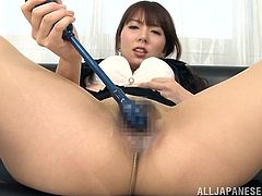 Lovely Japanese chick, wearing a pantyhose, is getting naughty in an office. She pleases herself with ardent fingering, then tests her new sex toy.