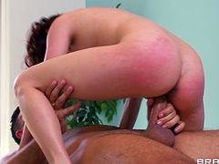Well-endowed brunette Ashley Graham, wearing lingerie, lets Keiran Lee oil and massage her hot body. Then Keiran rubs Ashley's smooth pussy and fucks it in the missionary and the cowgirl positions.