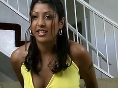 Gorgeous amateur desi babe talked about her experience shooting her first porn video with guys with huge dick. She talked about it with excitement just by looking at her pretty face.