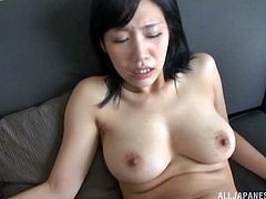Sexy Japanese babe wears the sexiest black thong and gives this lucky dude a hot blowjob before taking his hard cock up her hairy pussy.