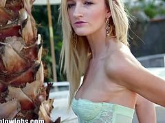 Will Powers sits on a chair in his backyard and admires Skylar Green's beauty. She is a sweet blonde teen who grabs his cock with confidence and sucks on it.