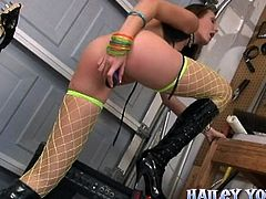 Sexy Teen In Fishnet Stockings Toys Her Wet Little Pussy