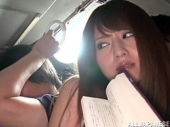Get a boner by watching this Asian brunette, with a nice ass wearing sexy panties, while she gets fucked hard by strangers in a reality video.