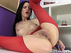 Have a blast watching this brunette doll, with a nice ass wearing red pantyhose, while she touches herself fervently until she has an orgasm.