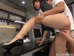 This gorgeous Asian babe gets gangbanged by her horny coworkers at the office and ends up getting her cute face covered with cum.