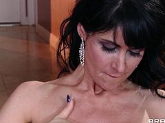 Busty brunette milf Eva Karera is playing dirty games with Bill Bailey after lunch. They have terrific oral sex in the kitchen, then Bill pounds Eva's shaved pussy and hot bumhole from behind and in the missionary pose.