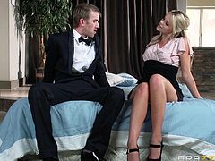 The wife needs attention too, otherwise she´ll find another big cock to fill her lusty pussy. Jenni and Scarlet share the same dick, offering unbelievable crazy blowjobs. The three get to know each other better in bed, while getting rid of clothes. The atmosphere gets dynamic when pussies are licked. Watch!