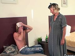 Granny Bet brings you a hell of a free porn video where you can see how this mature blonde rides a young stud's hard cock into a breathtakingly intense orgasm.