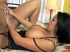 Big breasted stunner fucks her lover's tight anus with a strapon