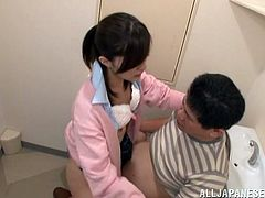 This sexy Asian teen gobbles this older guy's hard cock and loves it so much that she can't help to ride it like a little slut.