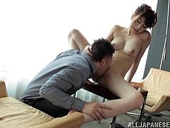Get a boner by watching this Asian brunette, with natural jugs wearing a sexy black bra, while, she gets plowed hard by a horny fellow.